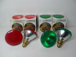 4-VINTAGE SYLVANIA COLORED OUTDOOR FLOOD LIGHT BULBS 2-RED +