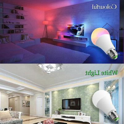 E26 LED Light Bulbs RGB Color Changing A19 Warm White Remote Pack